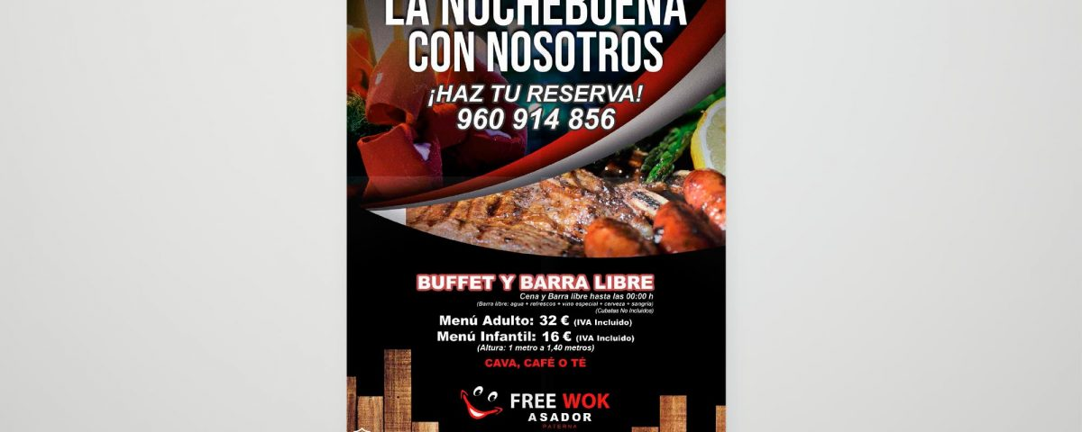 Cena de nochebuena en Asador Free Wok Paterna
